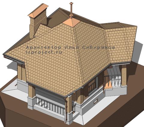 Проект кирпичной беседки с барбекю и цокольным этажом под электрогенератор Архитектор Илья Сибиряков