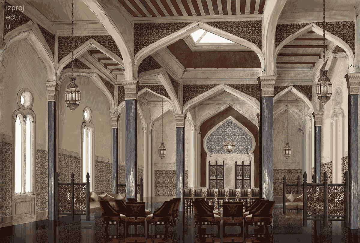 Интерьер ресторана в марокканском стиле.