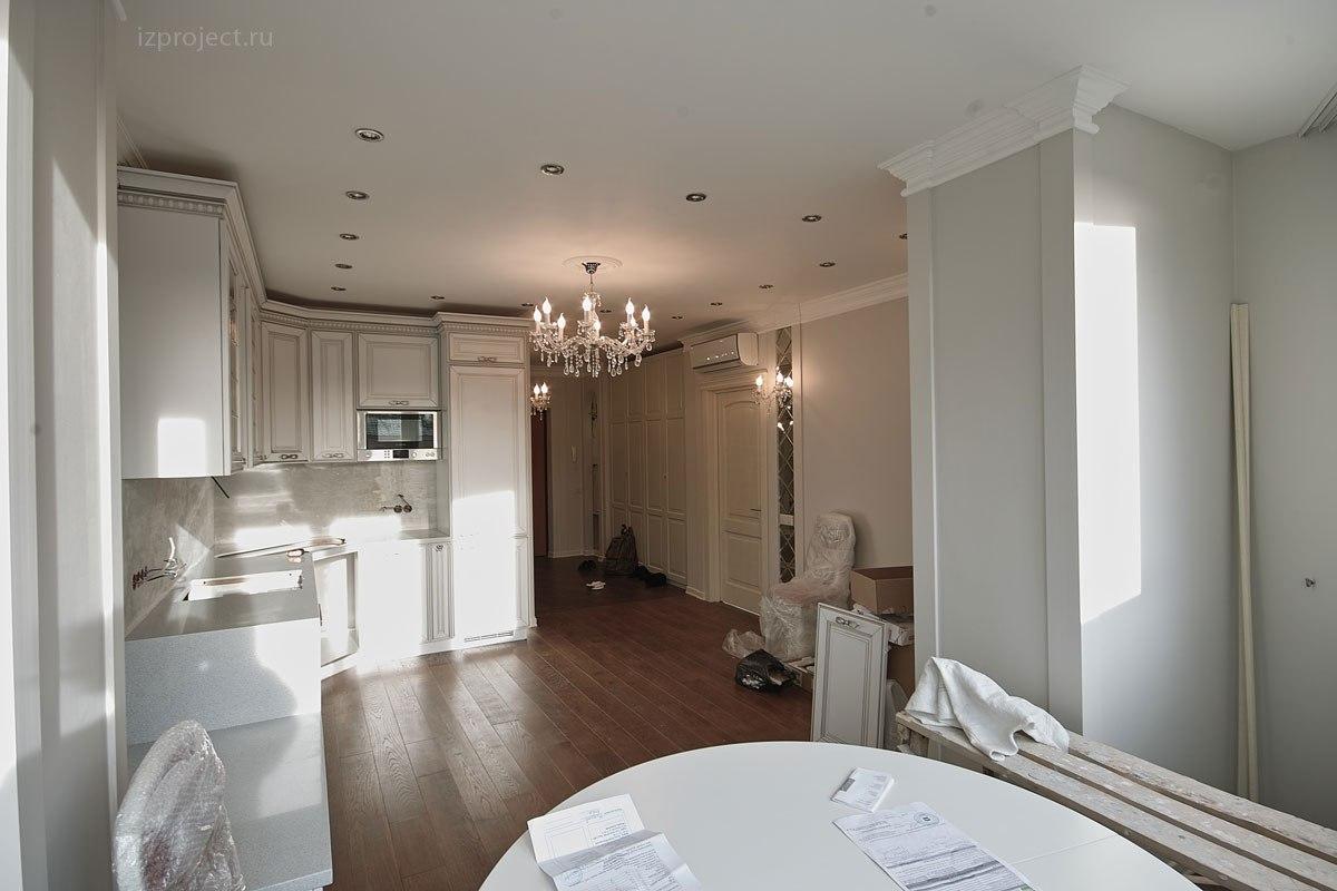 Дизайн однокомнатной квартиры, фото кухни-гостиной.