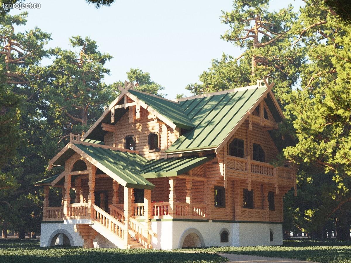 Проект деревянного дома в русском стиле. Архитектор Илья Сибиряков.