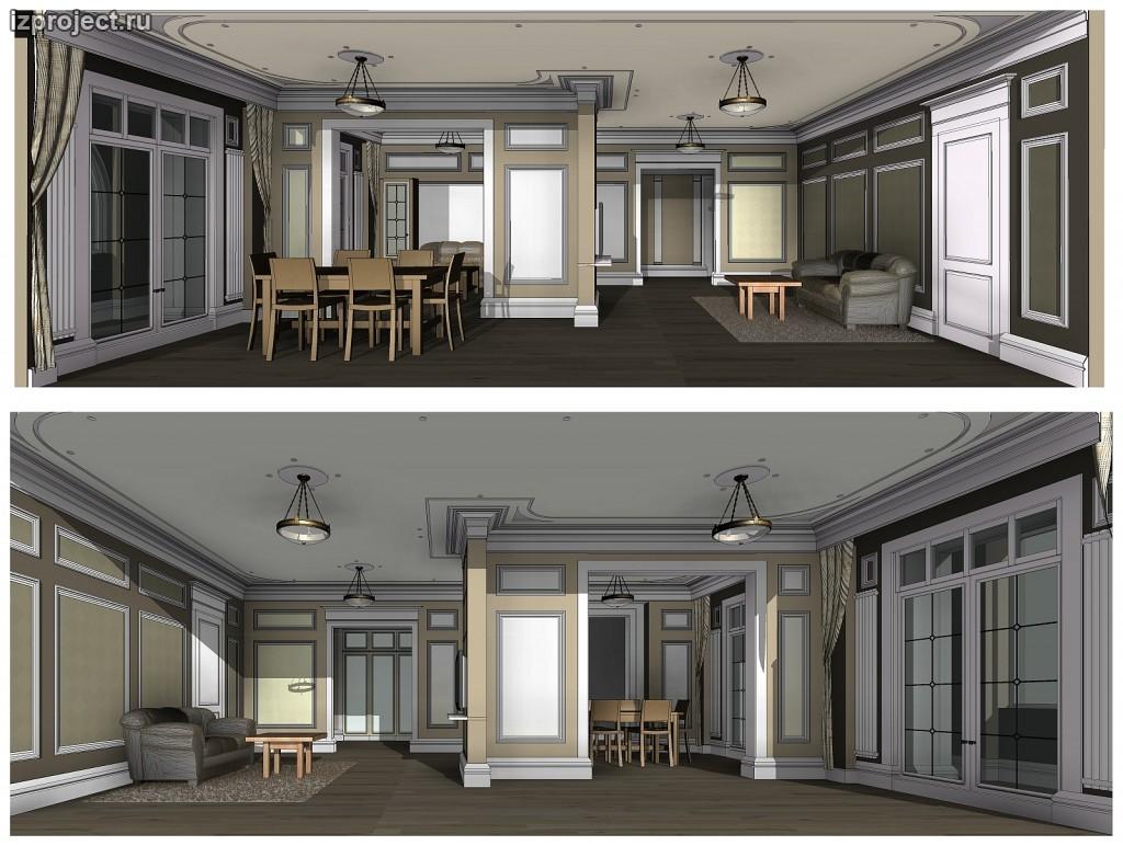 Интерьер современной квартиры в классическом стиле. Проект и фото реализации.