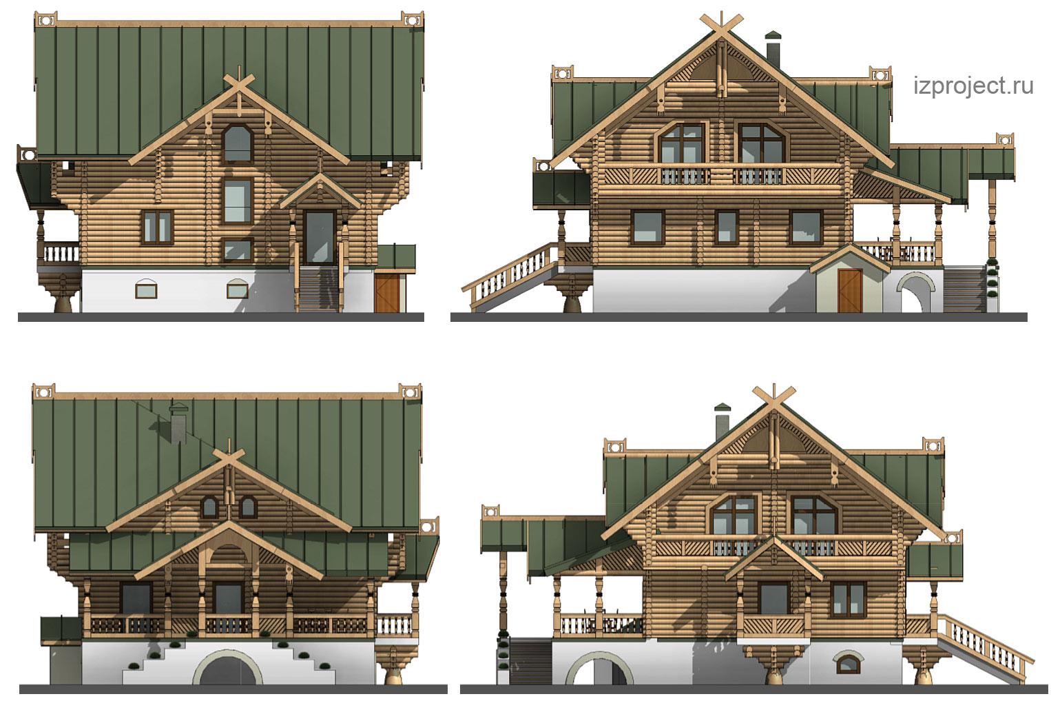 Проект фасадов деревянного дома в русском стиле. Арх. Илья Сибиряков.