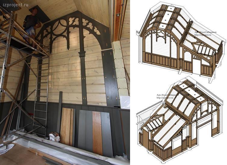 Реализация дизайна интерьера мансарды в готическом стиле. Монтаж столярных изделий. Архитектор Илья Сибиряков.