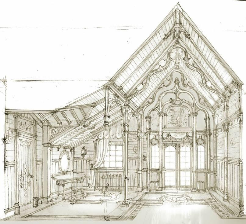 Эскиз интерьера мансарды в готическом стиле. Архитектор Илья Сибиряков.