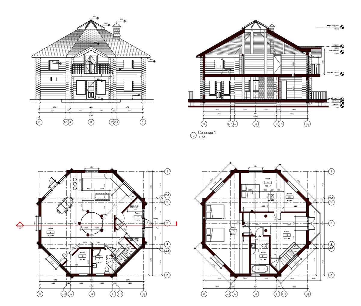 Проект восьмигранного дома 200 кв.м. Арх. Илья Сибиряков.