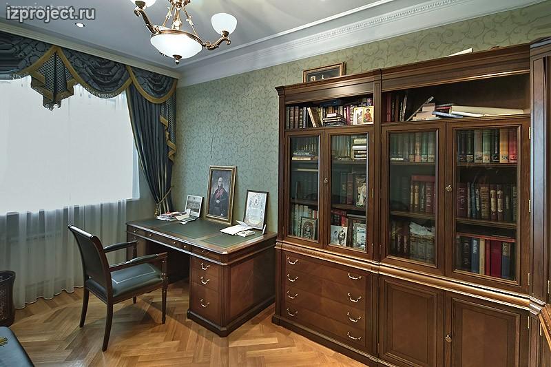 Фото интерьера кабинета в классическом стиле.