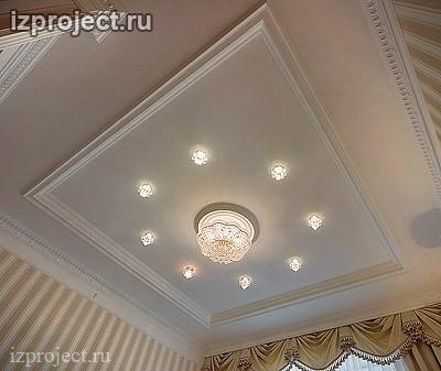 Фото потолка спальни в классическом стиле.