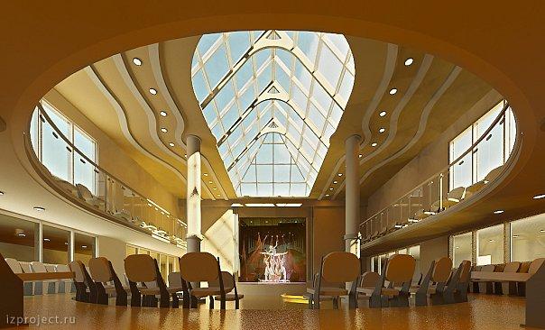 Проект необычного интерьера актового зала.