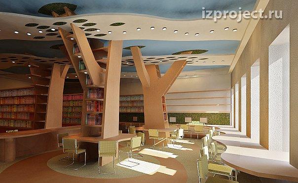 Креативный интерьер школьной библиотеки