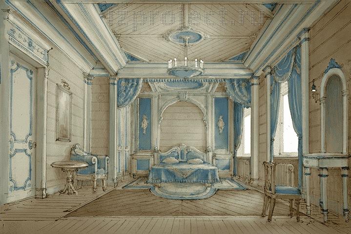 Интерьер спальни в классическом стиле.
