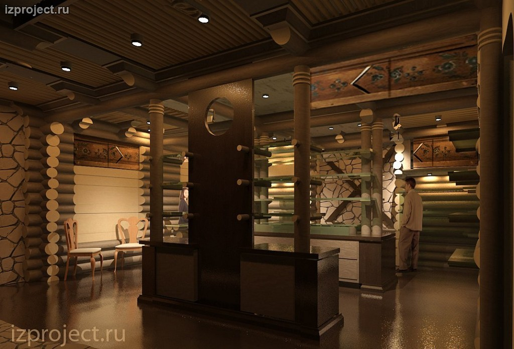 Интерьеры магазина Экспедиция в Столешниковом переулке, Москва. Сруб внутри здания.