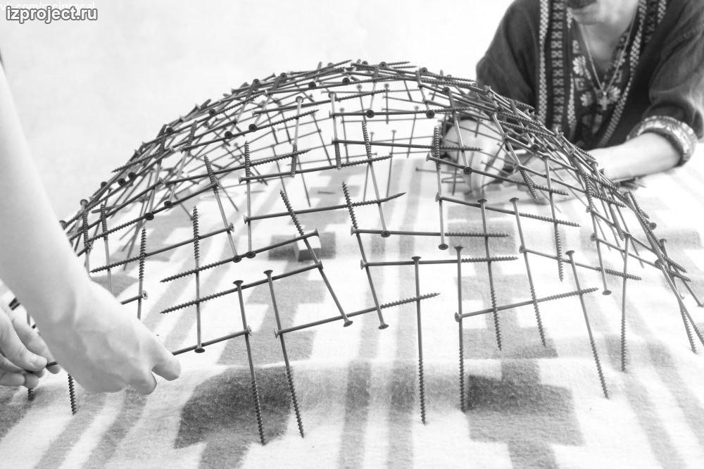 Ресипрокальный купол из саморезов 152 мм