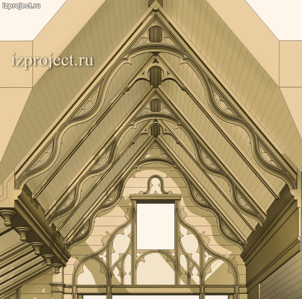 Компьютерная модель дизайна скатов интерьера мансарды в готическом стиле. Архитектор Илья Сибиряков.
