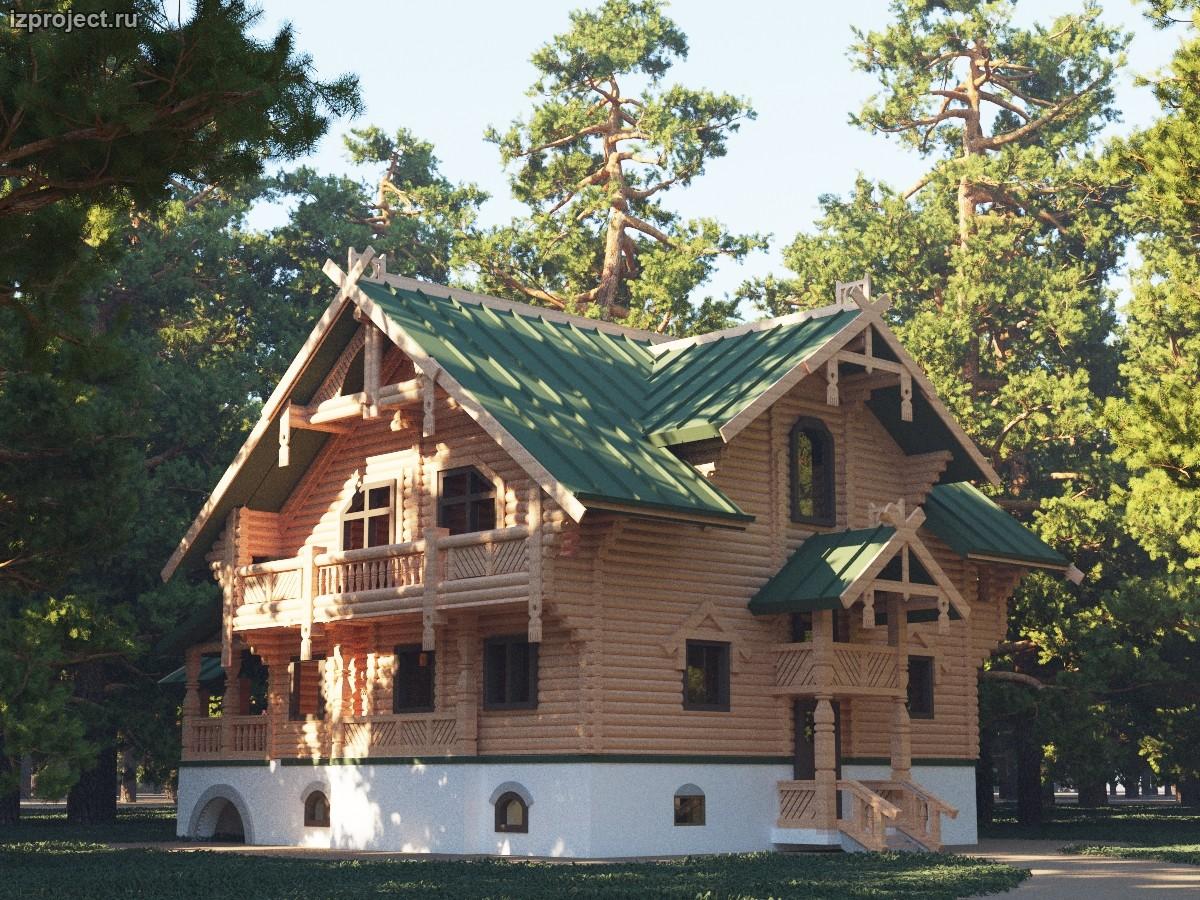 Проект деревянного дома в русском стиле