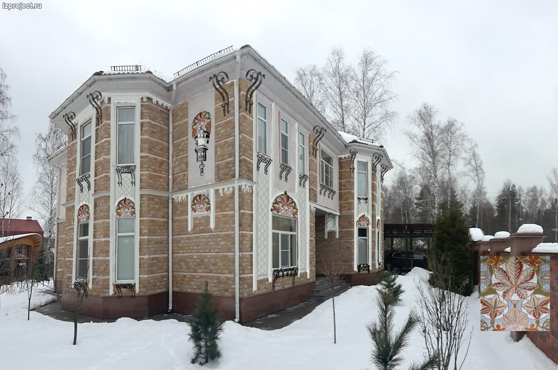 Реновация фасада кирпичного дома, вариант - штукатурка