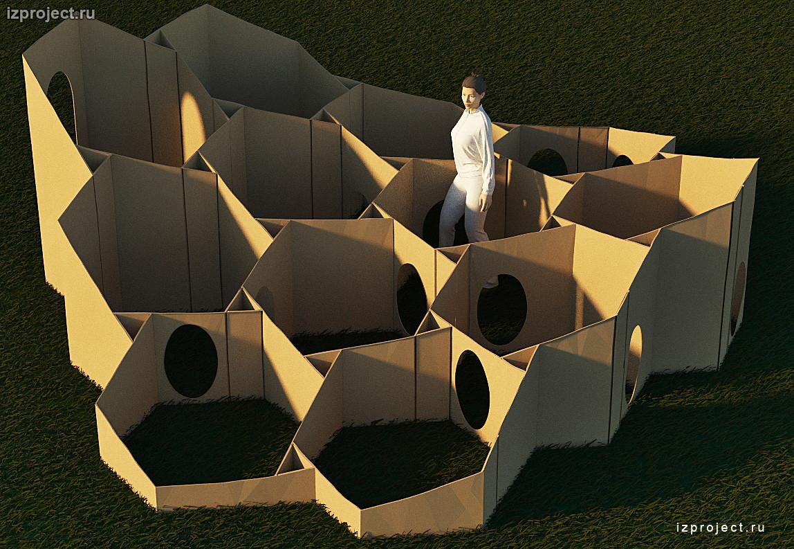 Параметрический лабиринт из гофрокартона. Архитектор Илья Сибиряков.