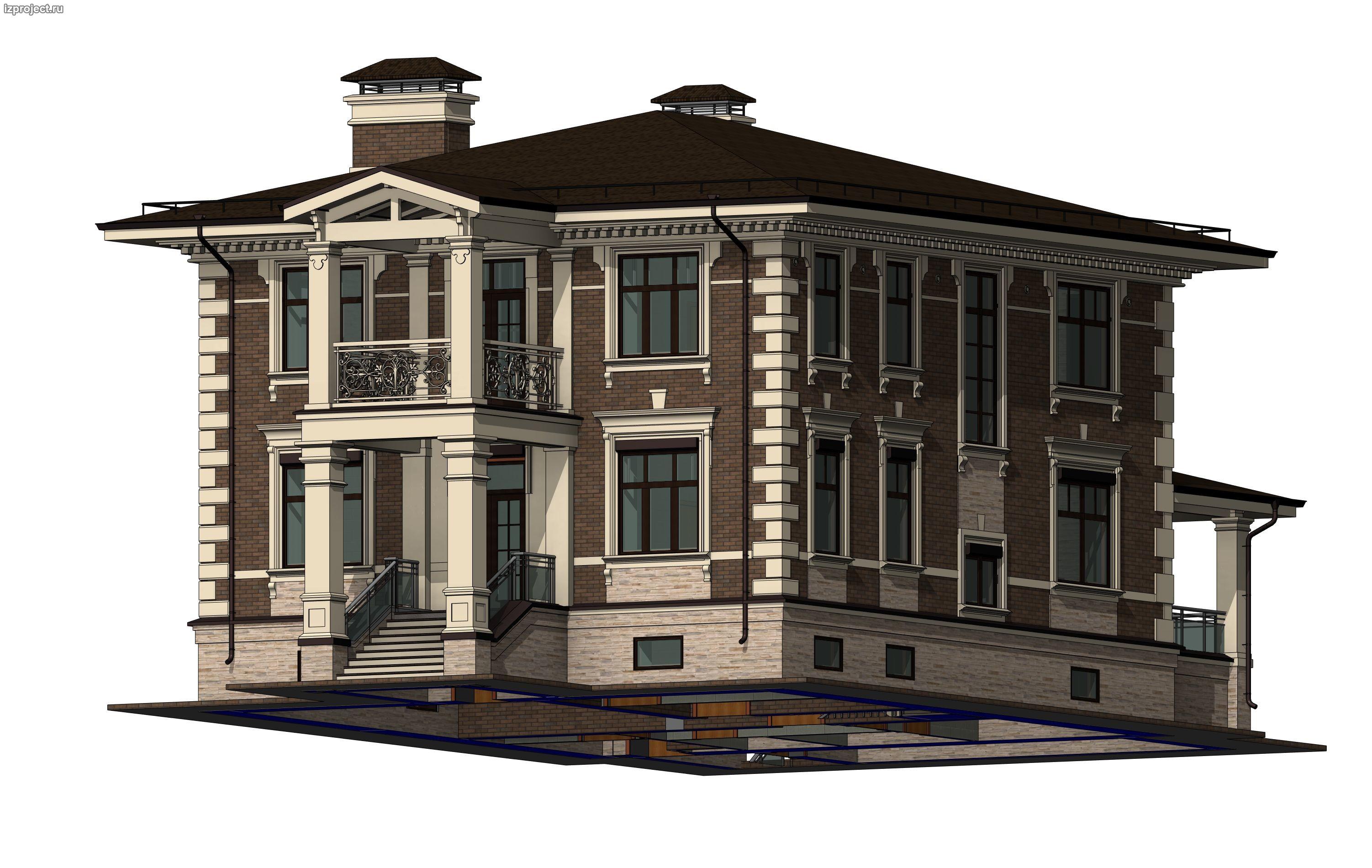 Частный архитектор загородных домов - эскиз декора фасадов кирпичного дома.